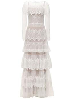 Tiered Sheer Lace Long Dress Zuhair Murad 72I0HI007-MTExMDAx0