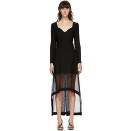 Alexander McQueen Black Rib Knit V-Neck Dress 641918Q1AR6