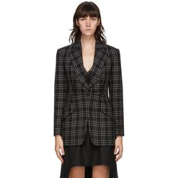 Alexander McQueen Black Wool Check Blazer 640688QJABX