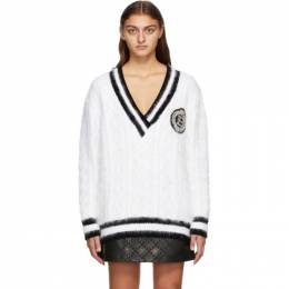 Balmain White Angora V-Neck Sweater UF13000K141