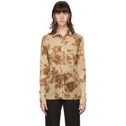 Kwaidan Editions Tan Floral Scarf Print Shirt AW20WT051W_LJP