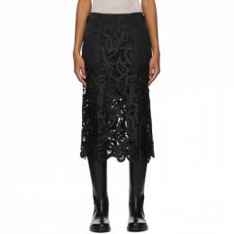 Sacai Black Embroidered Paisley Lace Skirt 20-05169