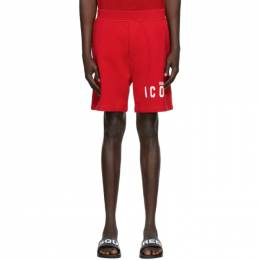 Dsquared2 Red Relaxed Fit Icon Shorts S79MU0007 S25042