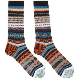 Yohji Yamamoto Black Intarsia Fairisle Socks HR-M04-064-3