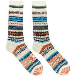 Yohji Yamamoto Off-White Intarsia Fairisle Socks HR-M04-064-1