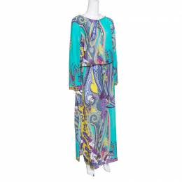 Etro Multicolor Printed Cotton and Silk Waist Tie Detail Kaftan Dress M 154606