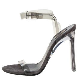 Yeezy Grey PVC Season 6 Open Toe Ankle Strap Sandals Size 39 328524