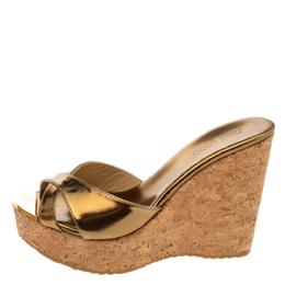 Jimmy Choo Metallic Bronze Patent Leather Perfume Cork Wedge Platform Slide Sandals Size 37 329379