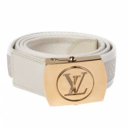 Louis Vuitton White Monogram Canvas Logo Plague Buckle Belt 80CM 328358