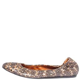 Lanvin Black/Beige Python Embossed Leather Scrunch Ballet Flats Size 39 328284