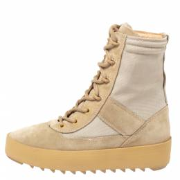 Yeezy Light Brown Canvas and Suede Season 3 Rock Military Boots Size 37 329398