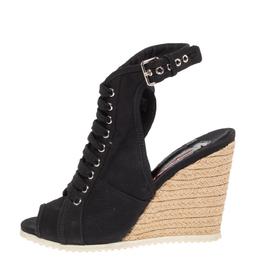Prada Sport Black Canvas Lace Up Slingback Espadrille Wedge Boots Size 38.5 327667