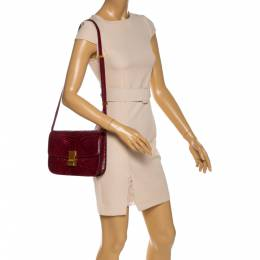 Celine Burgundy Python Medium Classic Box Shoulder Bag 328496