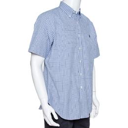 Ralph Lauren Blue Checked Cotton Short Sleeve Shirt L 327026