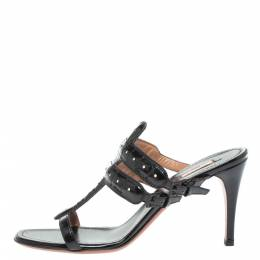 Alaia Black Patent Leather Open Toe Sandals Size 39 329513