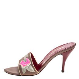 Yves Saint Laurent Vintage Beige Embroidered Satin Open Toe Sandals Size 38.5 329286