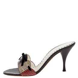 Saint Laurent Vintage Multicolor Python Leather Bow Open Toe Sandals Size 38.5 Yves Saint Laurent 329296