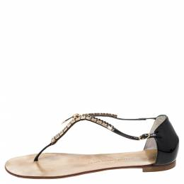 Giuseppe Zanotti Design Black Patent Crystal And Zip Embellished Thong Flat Ankle Strap Sandals Size 41 328852