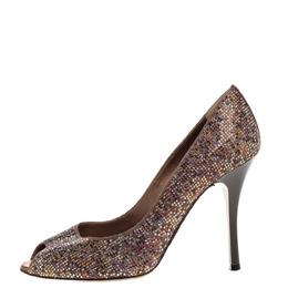 Rene Caovilla Brown Satin Multicolor Crystal Embellished Peep Toe Pumps Size 38 328858