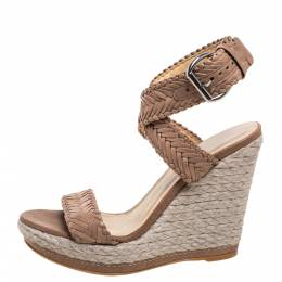 Stuart Weitzman Beige Leather And Espadrille Ankle Wrap Wedges Size 39 328308