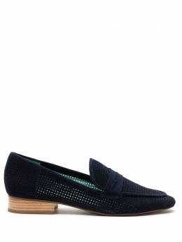 Blue Bird Shoes Loafer penny quadri camurça azul S210153