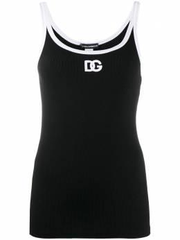 Dolce&Gabbana топ без рукавов с вышитым логотипом O7C00TONI42