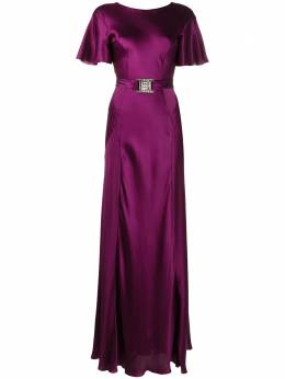 Alberta Ferretti длинное платье с кристаллами на пряжке A04526617