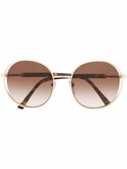 Bvlgari солнцезащитные очки в массивной круглой оправе 6135