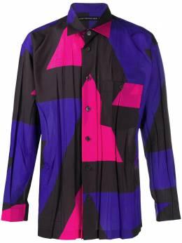 Issey Miyake Men рубашка со складками и геометричным принтом ME08FJ048