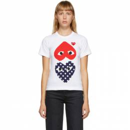 Comme Des Garcons Play White Upside Down Heart T-Shirt P1T239