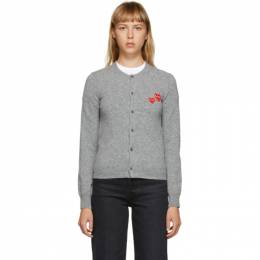 Comme Des Garcons Play Grey Double Heart Patch Cardigan P1N071