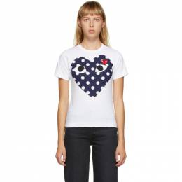 Comme Des Garcons Play White and Navy Big Heart T-Shirt P1T233