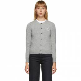 Comme Des Garcons Play Grey and White Heart Patch Cardigan P1N065