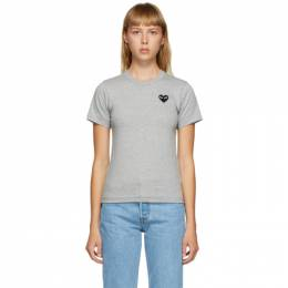 Comme Des Garcons Play Grey and Black Heart Patch T-Shirt P1T075