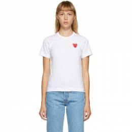 Comme Des Garcons Play White Layered Heart T-Shirt P1T287