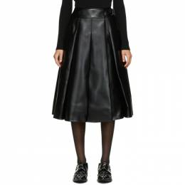 Junya Watanabe Black Faux-Leather Pleated Skirt JF-S041-051