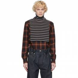 Dries Van Noten Black and Grey Wool Striped Bib Turtleneck 22205-1700-901