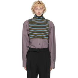 Dries Van Noten Blue and Green Wool Striped Bib Turtleneck 22205-1700-503