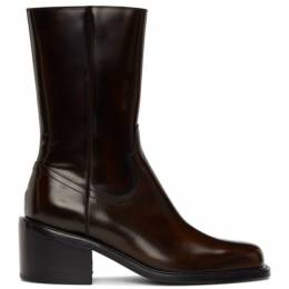 Dries Van Noten Brown Leather Zip-Up Boots MW28/027 QU108