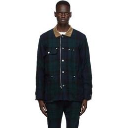 Sacai Reversible Green and Black Check Jacket 20-02345M