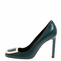 Roger Vivier Green Leather Trompette Pumps Size 37.5 329754