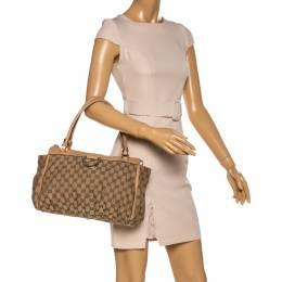 Gucci Beige GG Canvas and Leather D Ring Tote 329279