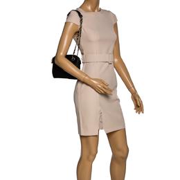 DKNY Black Leather Camille Dome Shoulder Bag 324369