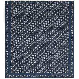 Kenzo Blue Silk Monogram Scarf FA68EW712PFN 06PFN.74