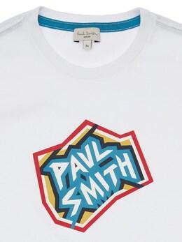 Футболка Из Хлопкового Джерси С Принтом Логотипа Paul Smith Junior 72I6SM042-MDE1