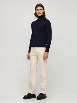 Logo Merino Wool Fine Knit Sweater Ami Alexandre Mattiussi 72I3J5026-NDEw0