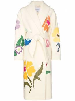 Mira Mikati пальто с цветочной вышивкой и поясом MCOA003BAW20