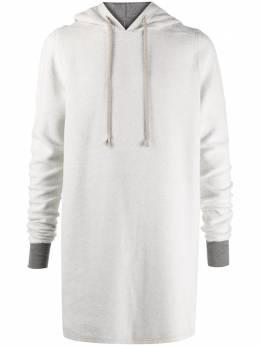 Rick Owens DRKSHDW long sleeve contrasting cuff hoodie DU20F1285FMR
