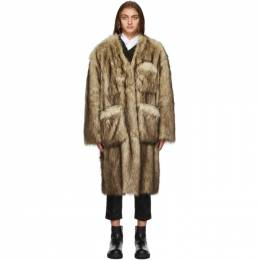 Raf Simons Reversible Brown and Off-White Faux-Fur Labo Coat 202 639 100PL