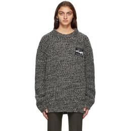 Raf Simons Black and White Wool Rib Knit Sweater 202 838B 100WO